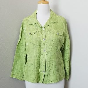 Chico's Lime Green Linen & Silk Top